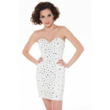 Gorgeous Sweetheart Short/ Mini White Beaded Homecoming Cocktail Prom Dress