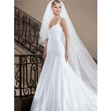 Gorgeous Trumpet V Neck Low Back Tulle Beaded Wedding Dress With Straps