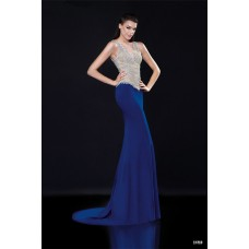 Gorgeous V Neck Sleeveless Illusion Back Royal Blue Satin Tulle Beaded Prom Dress