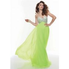 Gorgeous sweetheart empire floor length lime green chiffon prom dress beaded