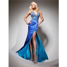 Halter V Neck Long Royal Blue Silk Beading Prom Dress With Open Back Slit