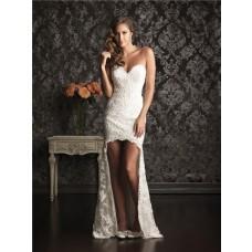 High Low Hem Sweetheart Lace Destination Beach Garden Wedding Dress