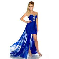 High Low Strapless Royal Blue Chiffon Beaded Homecoming Party Prom Dress