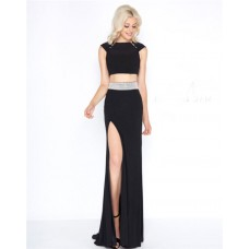 High Neck Cap Sleeve Black Jersey Beaded Two Piece Prom Dress With Slit