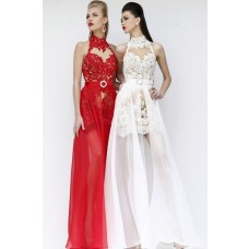 High Neck Keyhole Open Back Short Mini Red Lace Cocktail Prom Dress Removable Skirt