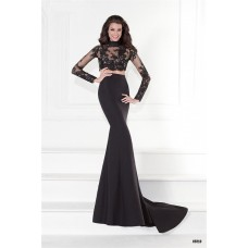 High Neck Open Back Black Satin Lace Sleeve Two Piece Prom Dress