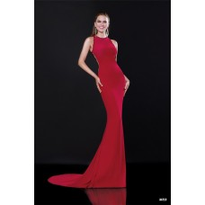 High Neck Sheer Back Red Jersey Lace Formal Occasion Evening Prom Dress