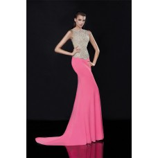 High Neck Sleeveless Hot Pink Satin Beaded Evening Prom Dress