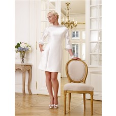 Informal High Neck 3/4 Sleeve Satin Beaded Crystal Short Modest Wedding Dress