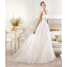 Informal Modern A Line Chiffon Destination Wedding Dress With Collar Belt