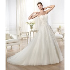 Latest Princess A Line Sweetheart Draped Tulle Beaded Lace Wedding Dress