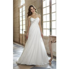 Lovely Strapless Empire Waist Ruched Chiffon Corset Destination Garden Wedding Dress