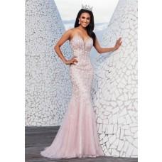 Luxury Mermaid Plunging Sweetheart Neckline Light Pink Tulle Beaded Long Prom Dress