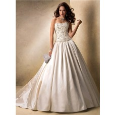 Luxury Ball Gown Strapless Champagne Satin Beaded Crystal Wedding Dress Corset Back