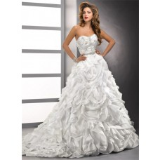 Luxury Ball Gown Sweetheart Crystals Beading Floral Organza Wedding Dress With Train