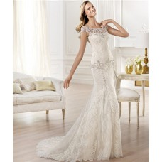 Mermaid Bateau Illusion Neckline Cap Sleeve Lace Wedding Dress With Pearls Embroidery