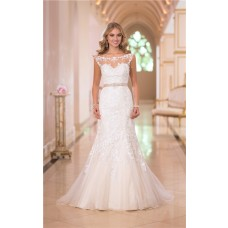 Mermaid Bateau Illusion Neckline Open Back Lace Wedding Dress With Sash