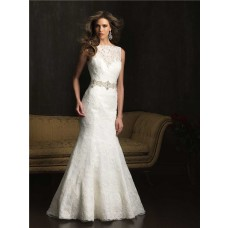 Mermaid Bateau Neck V Back Vintage Lace Wedding Dress With Crystal Belt