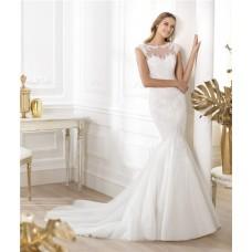 Mermaid Bateau Sheer Illusion Neckline Cap Sleeve Tulle Lace Beaded Wedding Dress