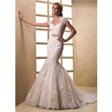 Mermaid Cap Sleeve Keyhole Open Back Lace Wedding Dress With Crystal Sash
