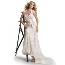 Mermaid Cap Sleeve V Neck Open Back Lace Wedding Dress With Ribbon Belt