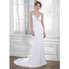 Mermaid Halter Empire Waist Keyhole Back Chiffon Crystal Beaded Wedding Dress