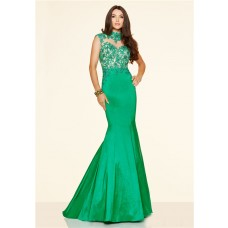Mermaid High Neck Backless Green Taffeta Lace Prom Dress With Collar