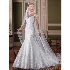 Mermaid High Neck Illusion Back Sheer Long Sleeve Tulle Lace Glitter Wedding Dress With Collar