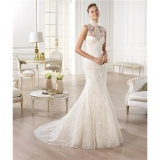 Mermaid High Neck See Through Sheer Back Lace Wedding Dress With Buttons