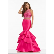 Mermaid High Neck Two Piece Hot Pink Satin Ruffle Beaded Prom Dress