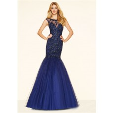 Mermaid Illusion Neckline Backless Navy Blue Tulle Beaded Prom Dress