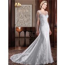 Mermaid Illusion Neckline Cap Sleeve Sheer Back Lace Tulle Wedding Dress