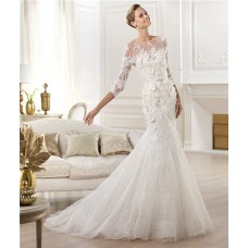 Mermaid Illusion Neckline Open Back Three Quarter Sleeve Lace Wedding Dress