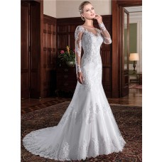 Mermaid Illusion Neckline See Through Back Long Sleeve Lace Wedding Dress