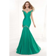Mermaid Illusion Neckline Sheer Back Cap Sleeve Emerald Green Taffeta Prom Dress