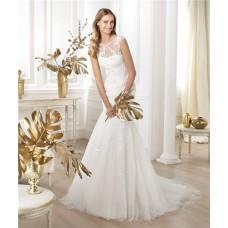 Mermaid Illusion Scoop Neckline Sheer Back Glitter Tulle Lace Wedding Dress