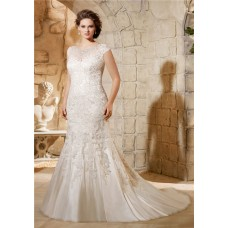 Mermaid Jewel Neckline Cap Sleeve Tulle Lace Plus Size Wedding Dress