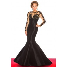 Mermaid Long Black Taffeta Sheer See Through Tulle Lace Sleeve Evening Prom Dress