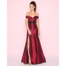 Mermaid Off The Shoulder Burgundy Taffeta Beaded Belt Prom Dress With Slit