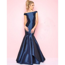 Mermaid Off The Shoulder Cap Sleeve Navy Satin Evening Prom Dress