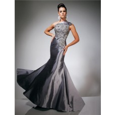 Mermaid One Shoulder Asymmetric Long Charcoal Grey Taffeta Beaded Evening Prom Dress