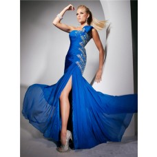 Mermaid One Shoulder Long Royal Blue Chiffon Party Prom Dress With Beading