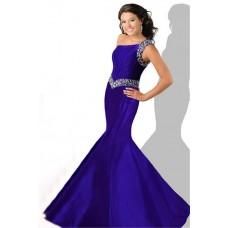 Mermaid One Shoulder Purple Taffeta Beaded Teen Prom Dress