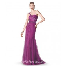 Mermaid One Shoulder Strap Long Purple Tulle Occasion Prom Dress