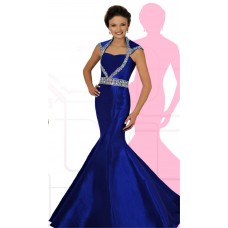Mermaid Open Back Cap Sleeve Royal Blue Taffeta Beaded Teen Prom Dress