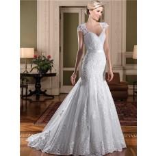 Mermaid Queen Anne Neckline Cap Sleeve Sheer Back Lace Wedding Dress With Sash
