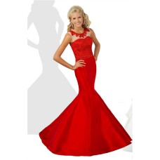 Mermaid Round Neck Open Back Red Taffeta Lace Beaded Teen Prom Dress