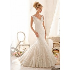Mermaid Scalloped V Neck Low Back Pleated Lace Wedding Dress With Straps Buttons