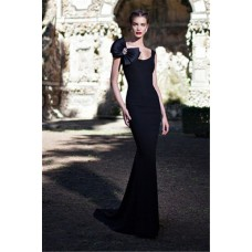 Mermaid Scoop Neck Long Black Satin Formal Occasion Evening Dress With Bow