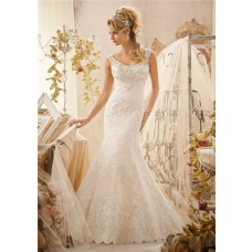 Mermaid Scoop Neckline Sheer See Through Back Lace Beaded Wedding Dress With Straps